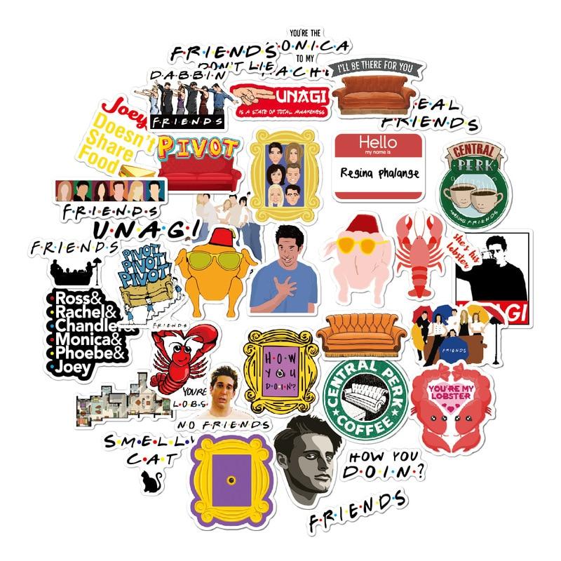 50pcs Friends Tv Show Fans Gift Decoration Sticker For DIY Scrapbooking Album Luggage Laptop Phone Decal Sticker