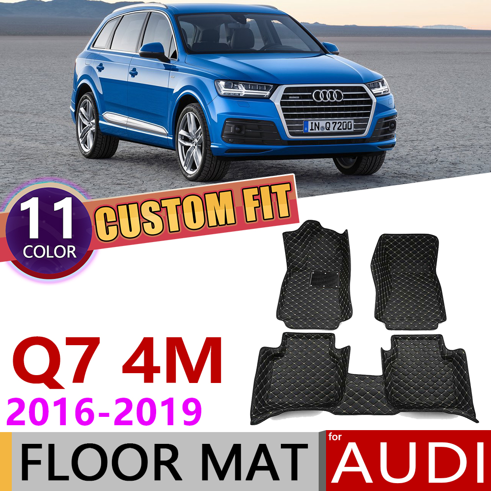 Custom Car Leather Floor Mats For Audi Q7 4M 2016~2019 5 Seats Waterprool Anti-dirty Auto Foot Pad Carpet Accessories 2017 2018