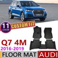 Custom Car Leather Floor Mats for Audi Q7 4M 2016~2019 5 Seats Waterprool Anti dirty Auto Foot Pad Carpet Accessories 2017 2018