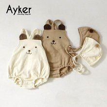 Baby Bodysuit Cute Bear Girl Clothes Newborn Onesie Body 2019 New Style Autumn Winter Boy Twins With Hat