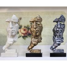 European Style Resin Silence Mask Statue Abstract Statuettes No Say No See No Hear Mask Sculpture for Office Vintage Home Decor