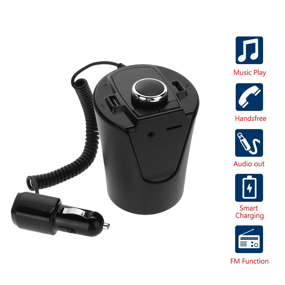 Car Bluetooth FM Transmitter Music Player Cup Holder Hands Free Calling Support U Disk TF Card Dual USB Charger Music Player 5