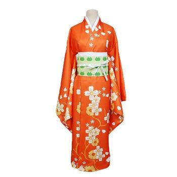 Disfraz de Super Danganronpa 2 Hiyoko Saionji Hiyoko, Kimono naranja para mujer adulta, vestido en existencias