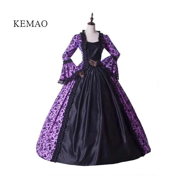 Vestido de mujer victoriano traje rococó Vintage Cosplay flocado victoriano vestido de fiesta vestido de Graduación