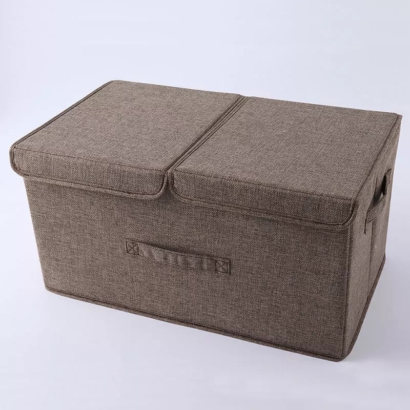 Anti Mold Foldable Clothes Storage Box with Handles Made of Cotton and Linen