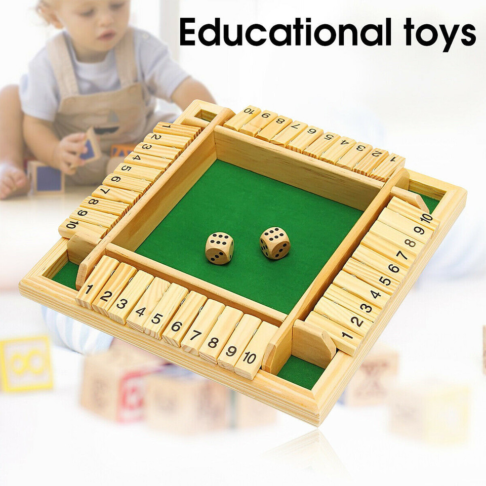 Wooden Pub Bar Traditional Four Sided 10 Numbers Board For Kids Game J4M0 F C1V4