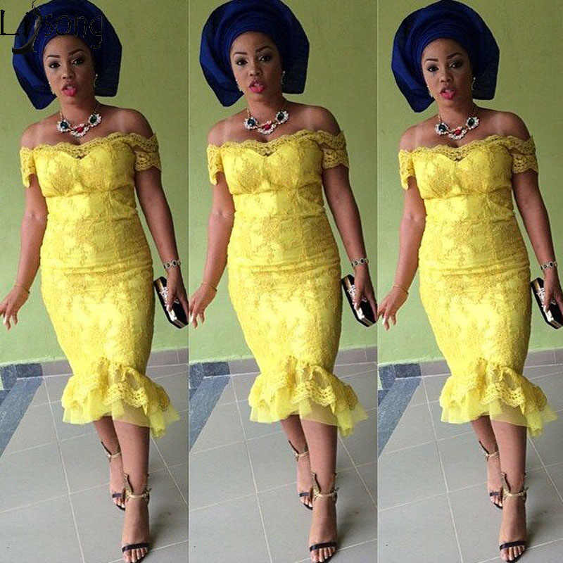 Aso Ebi Африканское кружевное вечернее платье Русалка с открытыми плечами