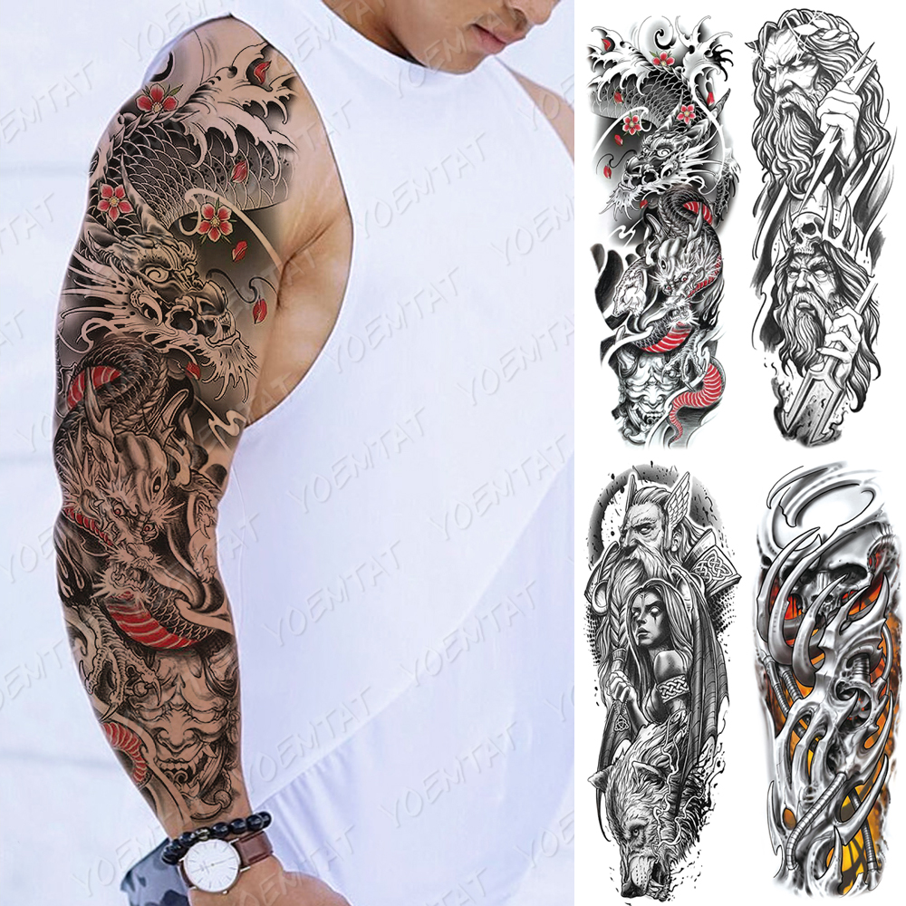 Large Arm Sleeve Tattoo Japanese Dragon Prajna Waterproof Temporary Tatto Sticker Mechanical Body Art Full Fake Tatoo Women Men