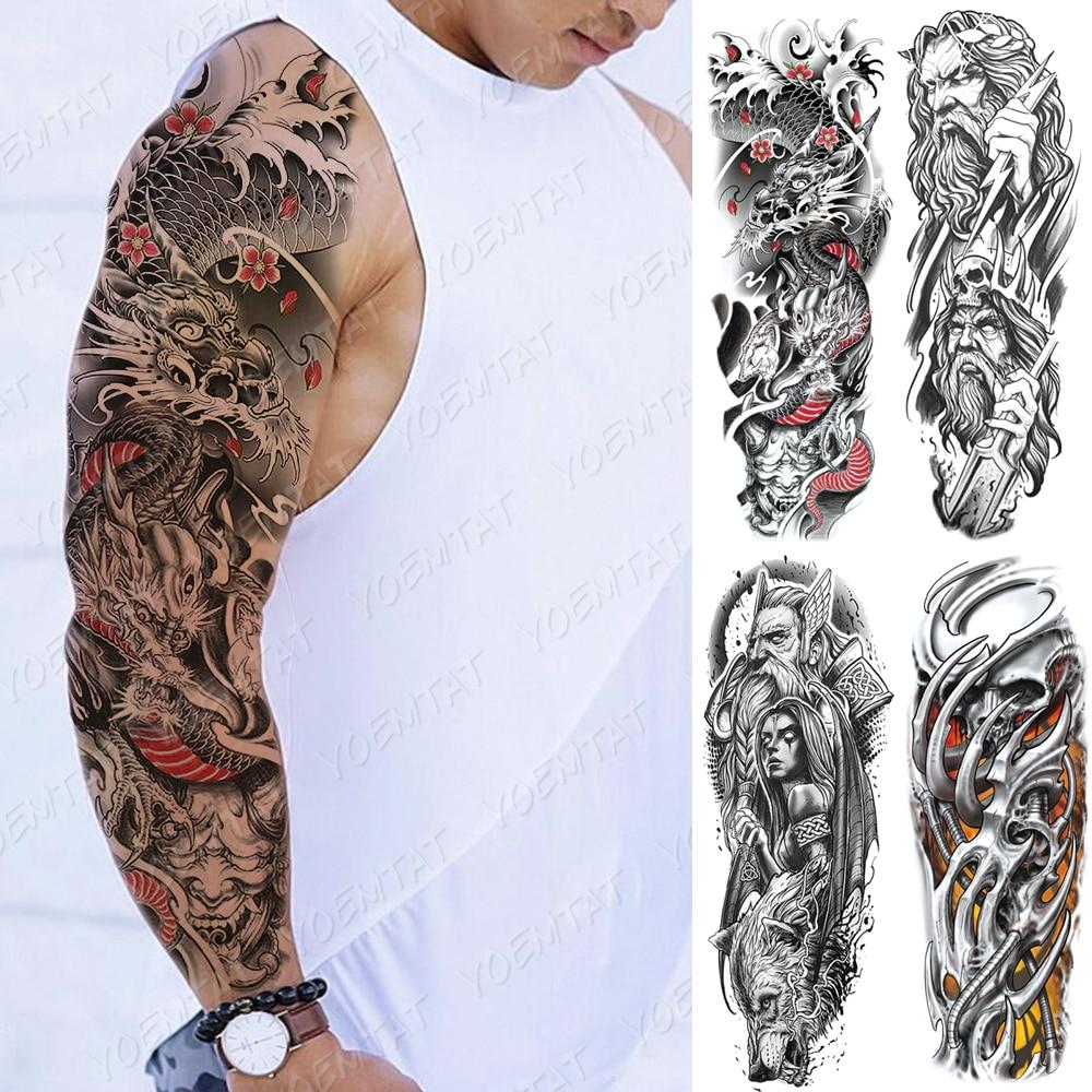Large Arm Sleeve Tattoo Japanese Dragon Prajna Waterproof Temporary Tatto Sticker Mechanical Body Art Full Fake Tatoo Women Men