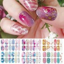 12 pçs/folha brilho gradiente cor adesivos de unhas envoltórios de unhas cobertura completa unha polonês adesivo diy auto-adesivo decoração da arte do prego