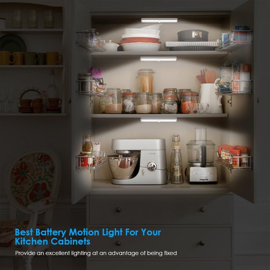 LED Under Cabinet Light LED PIR Motion Sensor Lamp 6/10/20LEDS lighting for Wardrobe Cupboard Closet Kitchen night light 2