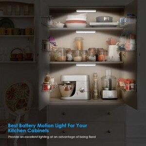 Image 2 - Lâmpada led com sensor de movimento pir, luz de baixo de armário, 6/10/20leds, para guarda roupa, armário luz noturna da cozinha
