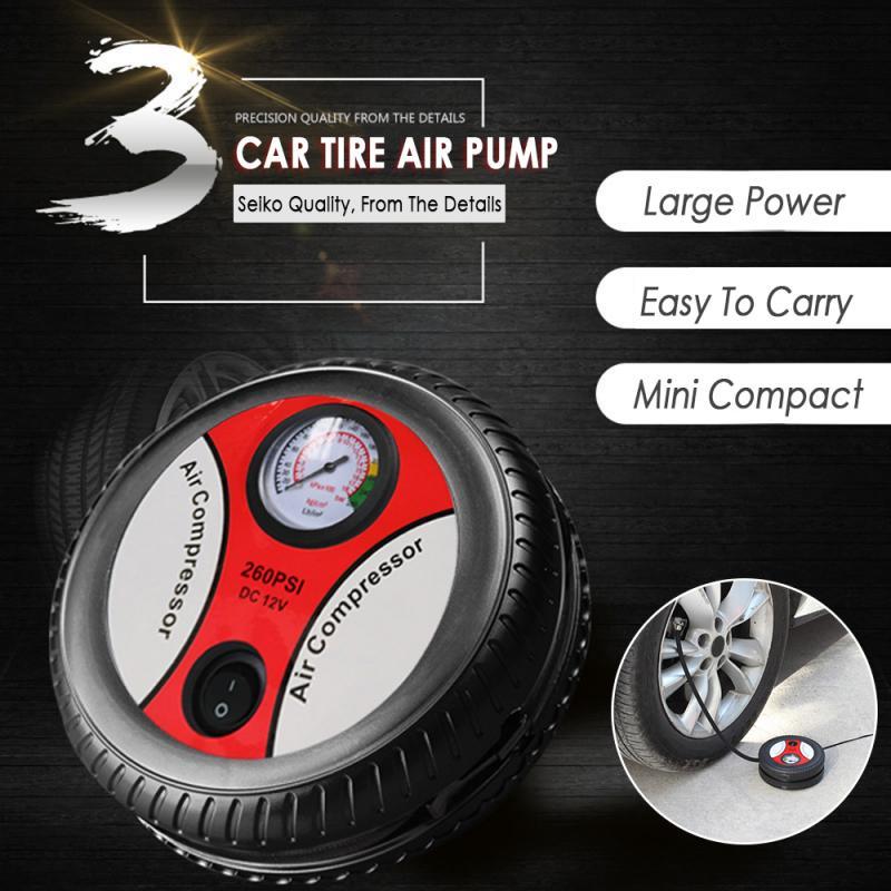 Tire Inflator DC 12 Volt Car Portable Air Compressor Pump 260 PSI Car Air Compressor For Car Motorcycles Bicycles