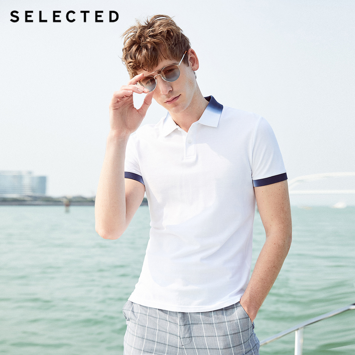 SELECTED Men's Slim Fit 100% Cotton Turn-down Collar Poloshirt C 419206545