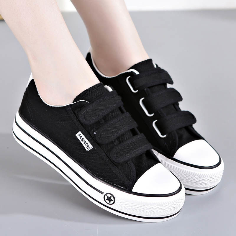 Autumn New Style Velcro Canvas Shoes Women's Thick Bottomed Cloth Shoes Korean-style Versatile WOMEN'S Shoes Casual Students Spo