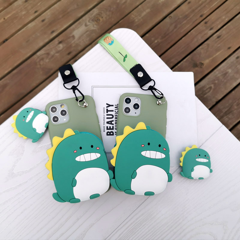 Fashion Zipper Wallet dinosaur toon Phone <font><b>Case</b></font> for <font><b>Samsung</b></font> <font><b>Galaxy</b></font> M10 M20 M30 A80 A10 A20 A30 A40 A50 A51 A60 <font><b>A70</b></font> A71 Soft TPU image