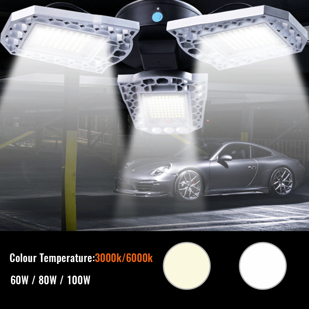 UFO LED Garage Light AC 110-277V E26/E27 60W 80W 100W Garage Lamp Waterproof IP65 Deformable Industrial Lighting Workshop Light