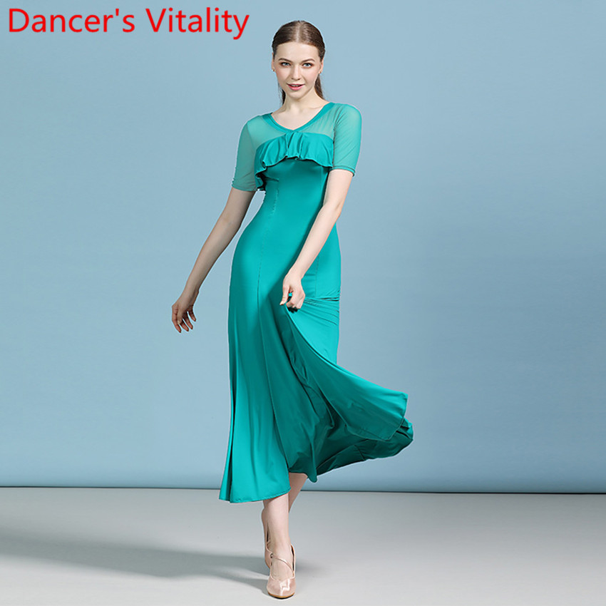 Modern Dance Short Sleeve Flouncing Cut Out Simple Fashion Dress Ballroom National Standard Waltz Jazz Dancing Race Stage Wear