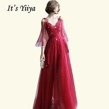 Вечерние платья бордового цвета it's yiiya br501 с аппликацией