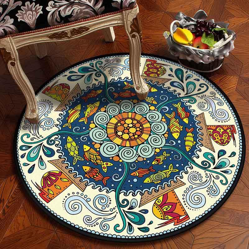 Image 3 - Muslim Area Rugs Round Geometric Carpet Living Room Doormat  Floral Carpets Door Floor Mat for Bedroom Carpet Anti slip RugRug   -