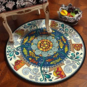 Image 3 - Muslim Area Rugs Round Geometric Carpet Living Room Doormat Floral Carpets Door Floor Mat for Bedroom Carpet Anti slip Rug