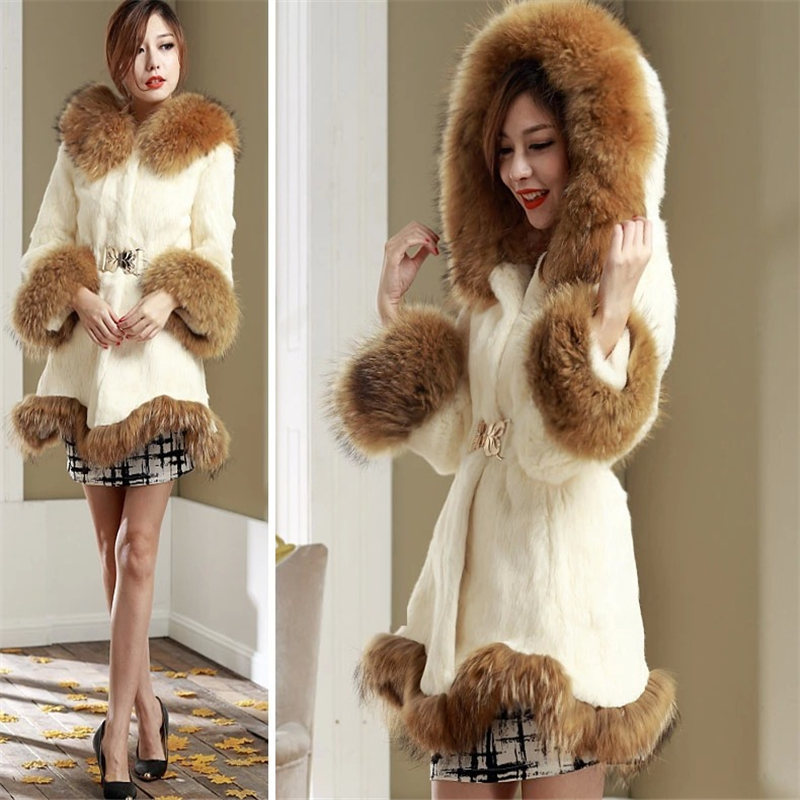 2019 New Faux Fur Coat Female Long Jacket Winter Coat Women Hooded Imitation Fox Fur Collar Coats Casaco Feminino KJ295