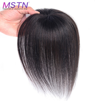 MSTN Topper Hairpiece with Bang Hair Piece Top Piece Closure Toupee Straight Synthetic Protein Silk Hair Hand-made Natural Black jinkaili top piece closure toupee black brown top natural straight hair female hear resistant synthetic hair piece women