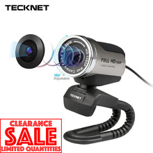 цена на TeckNet 1080P HD Webcam with Built-in Noise-cancelling Microphone 1980x1080 Pixels USB Web Camera for Desktop Laptop Notebook PC