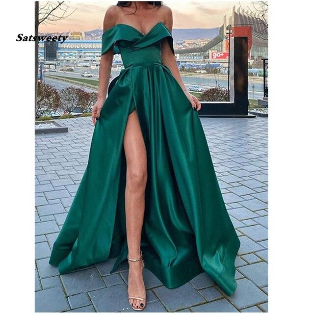 Off the Shoulder Emerald Green Satin Long Prom Dresses with Leg Slit V-neck Floor Length Arabic Evening Gowns robe de soiree 2