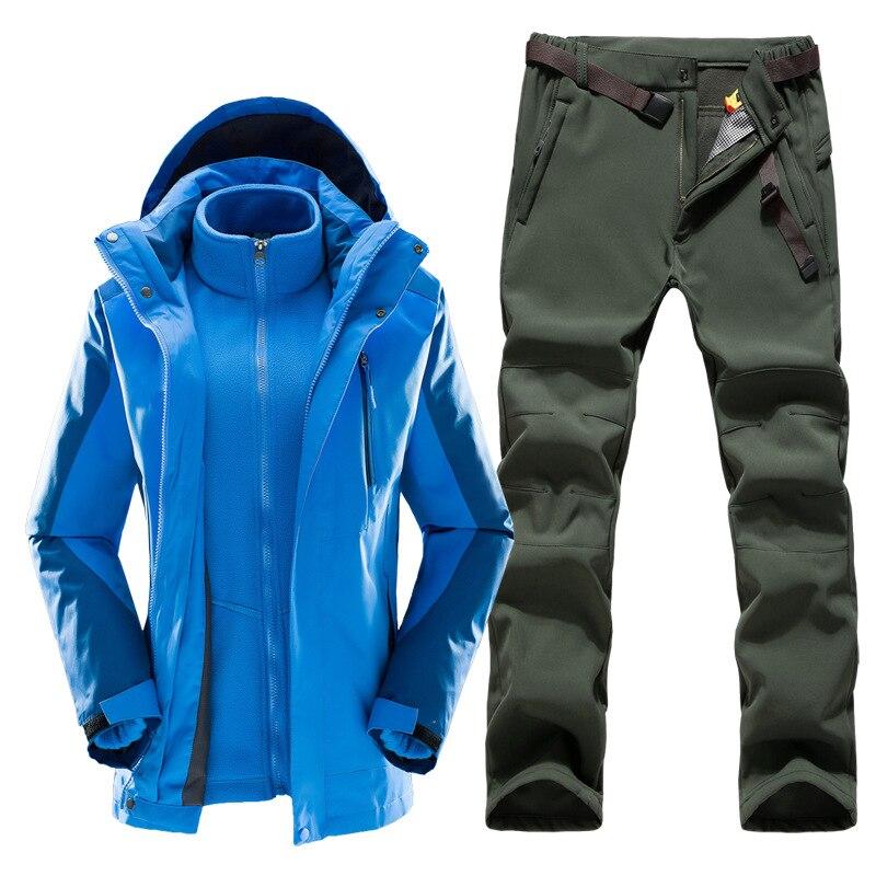 Hiver femmes 3-en-1 veste de randonnée et pantalon de randonnée doublure polaire épais survêtement thermique extérieur imperméable alpinisme ski costume