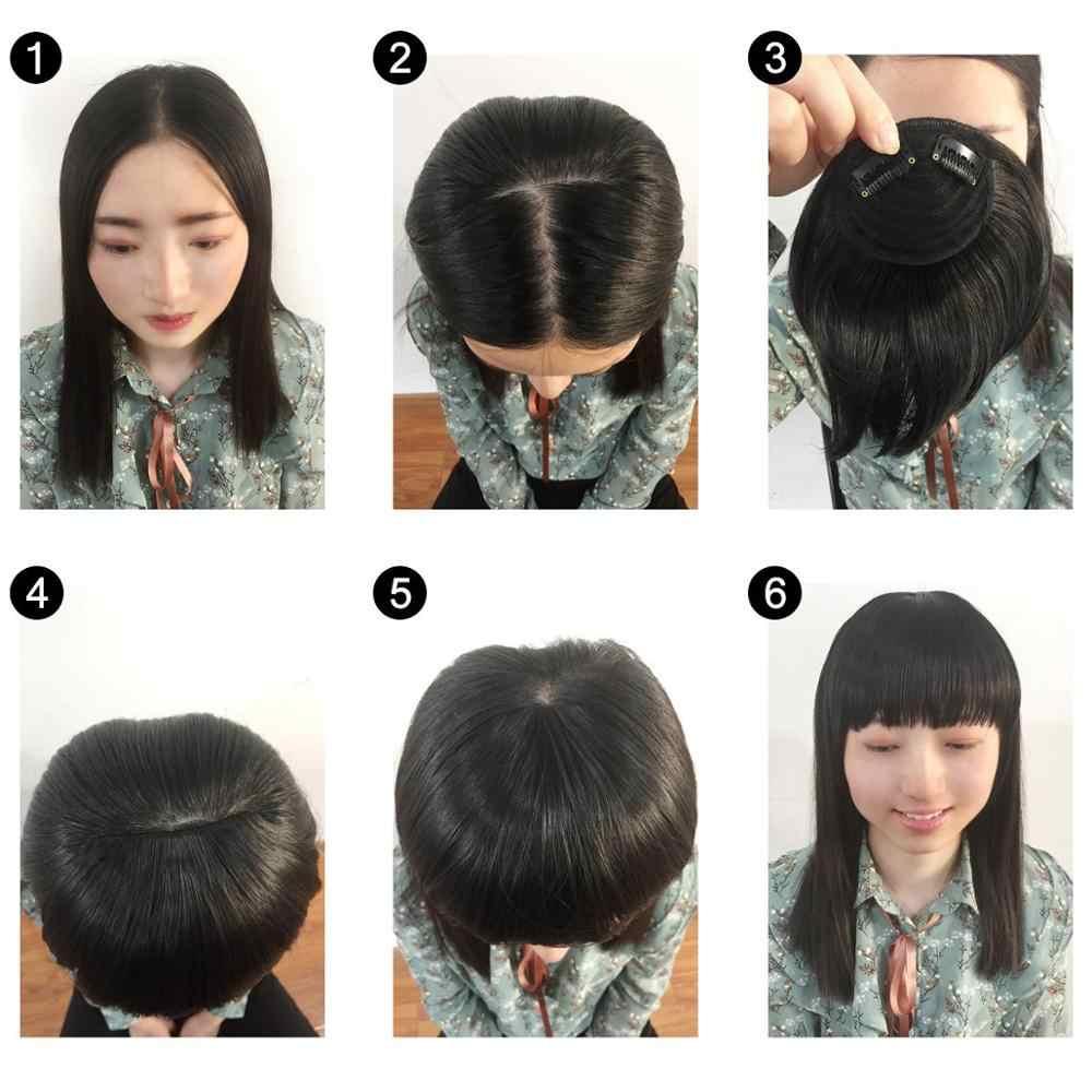 SARLA Haar Pony Clip in Kehr Seite Fringe Gefälschte Falsche Bang Extensions Natürliche Synthetische Haarteil Haarteil Schwarz Braun B2