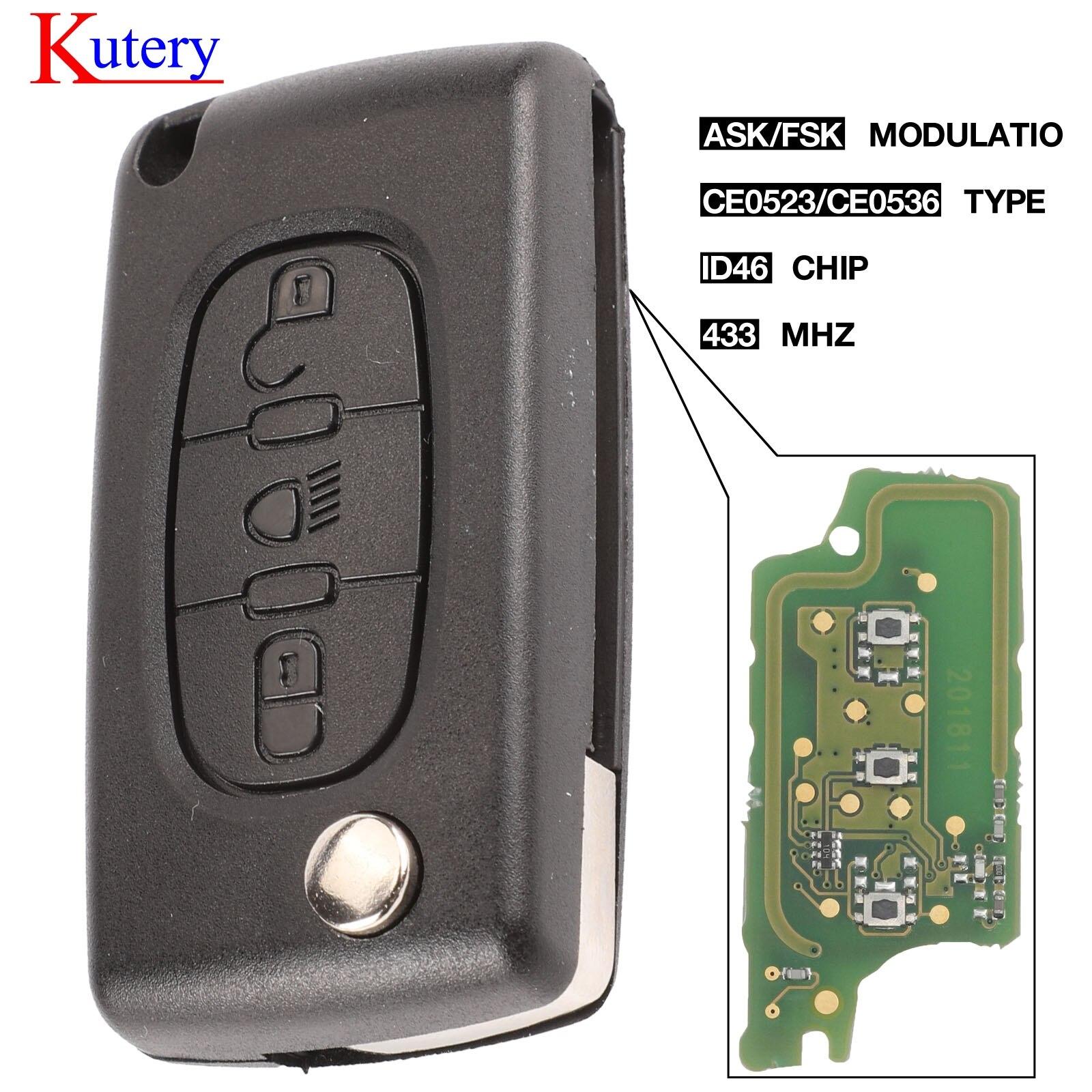 Kutery ASK/FSK 433 МГц ID46 для Citroen C2 C3 C4 C5 C6 C8 3 кнопочный светильник дистанционный ключ-брелок от машины VA2/HCA Blade CE0523 Ce0536