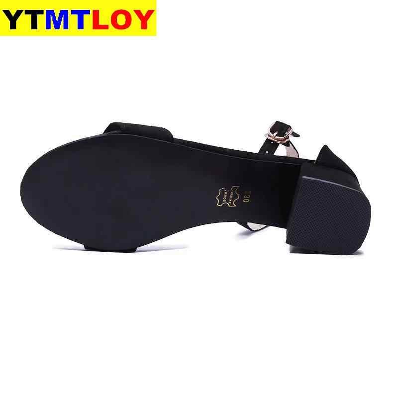 Mùa Hè Mở Mũi Giày Nữ Sandles Giày Gót Vuông Phong Cách Hàn Quốc Võ Sĩ Giác Đấu Cao Gót Nữ Dây Đeo Mắt Cá Chân Đen màu Hồng