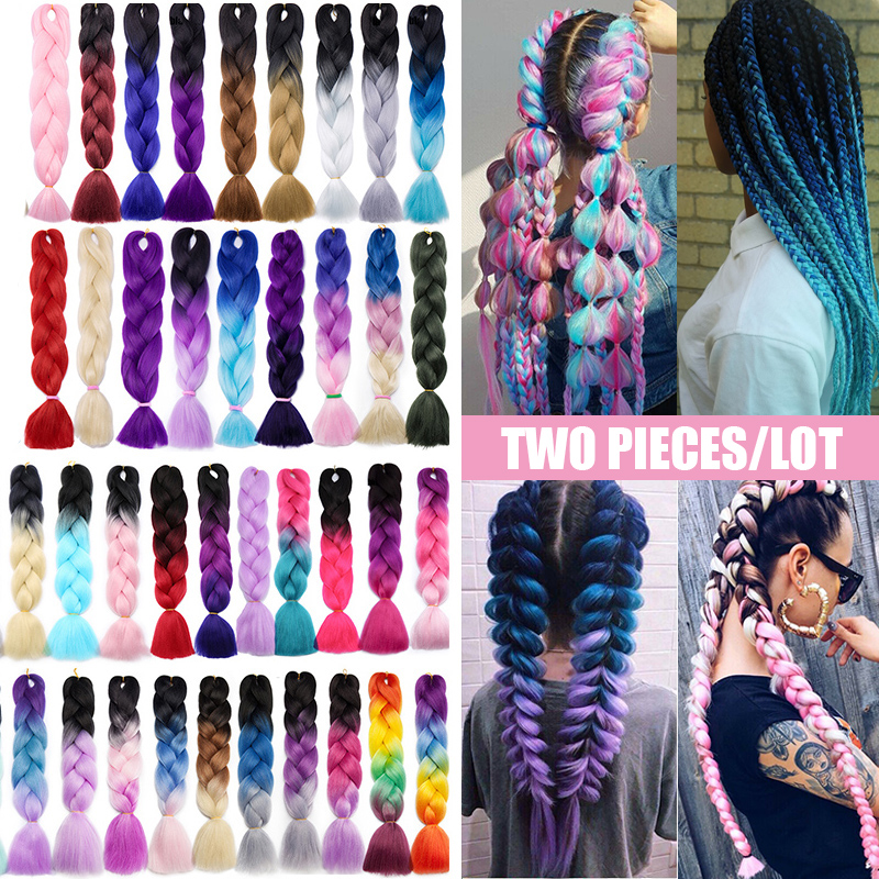 Benahair 24' Jumbo Braids Long Ombre Jumbo Synthetic Braiding Hair Crochet Pink Purple Blue Red Hair Extension African For Women