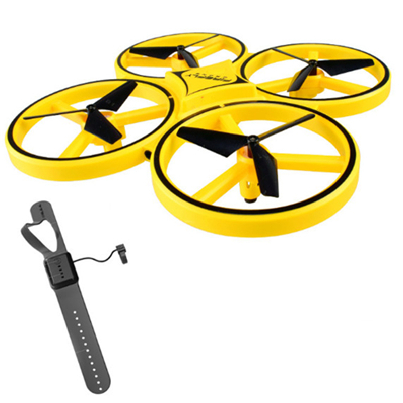 RC Drone Helicopter Wrist Watch Infrared Induction Hand Control Altitude Hold 2 Controllers Quadcopter Funny Kids Toys Gifts