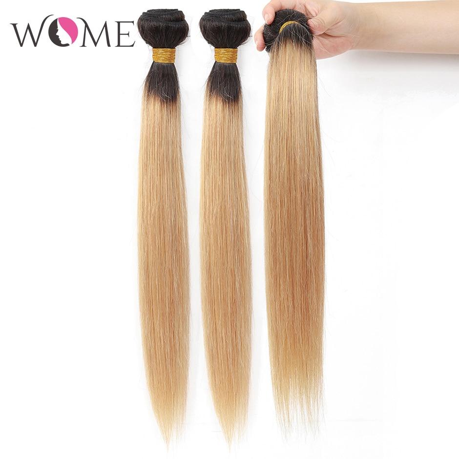 WOME/эффектом деграде(переход от темного к прямые волосы пряди предварительно цветной 1b/27 1b/30 1b/99j человеческие волосы пряди 1/3/4 шт. два тона волосы с разной направленностью кутикулы - Цвет: T1B/27
