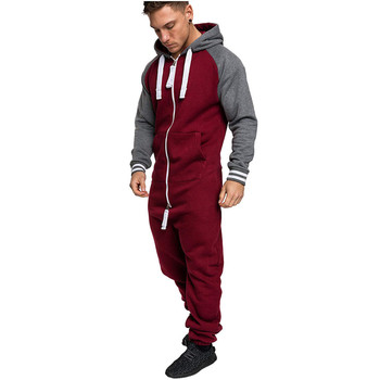 Men's Hooded and Fleece One-piece Hoodie Matching Color European and American Personality Casual One-piece Male Tracksuit black and white colour matching drawstring hooded hoodie