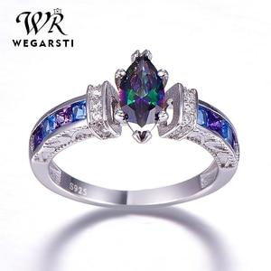 WEGARASTI Silver 925 Jewelry Silver 925 Ring for Women with oval Rainbow Fire Mystic Topaz Gemstone Silver Jewelry Fine Jewely