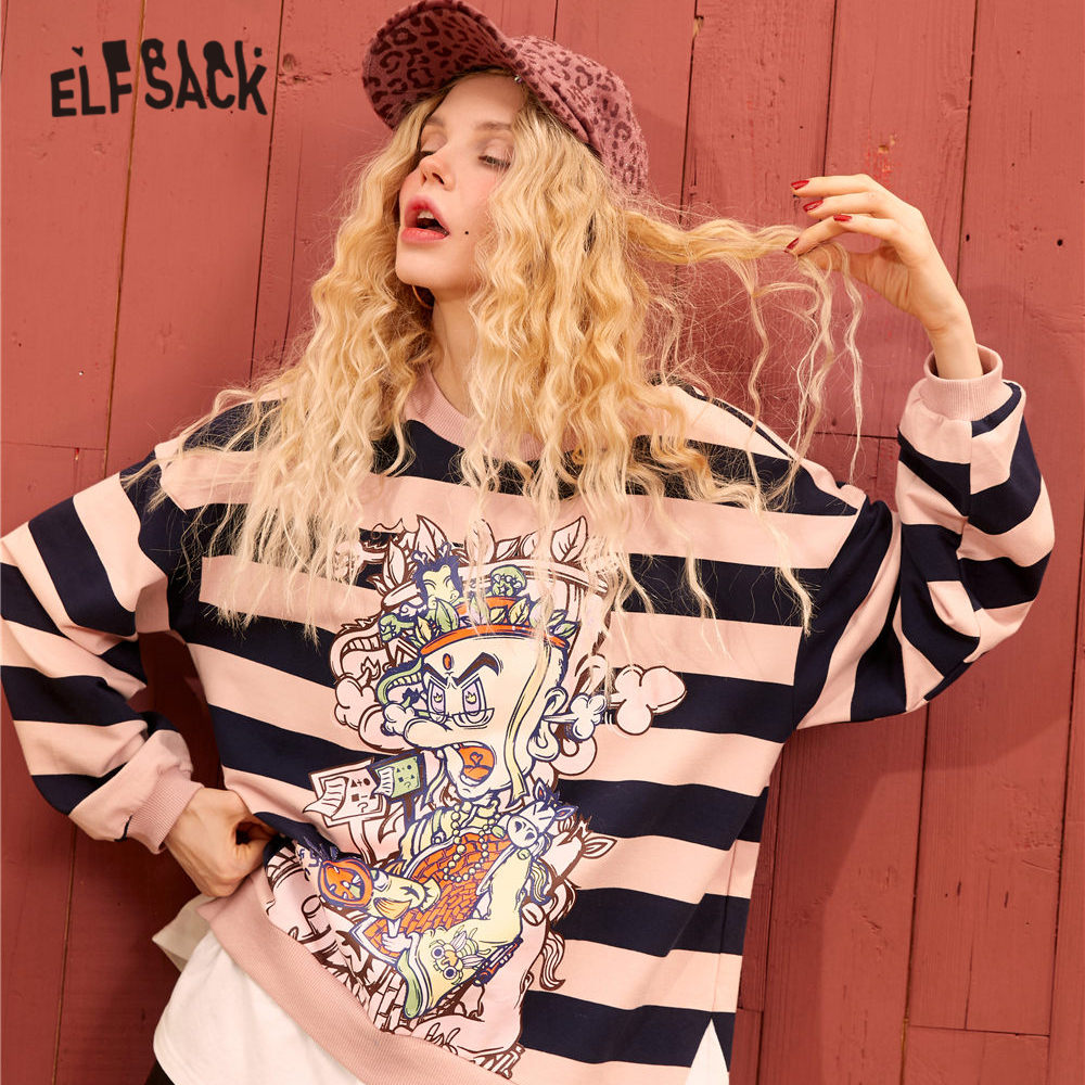 ELFSACK Pink Colorblock Striped Graphic Print Casual Women Sweatshirts 2020 Spring Drop Shoulder Sleeve Two Pieces Ladies Tops
