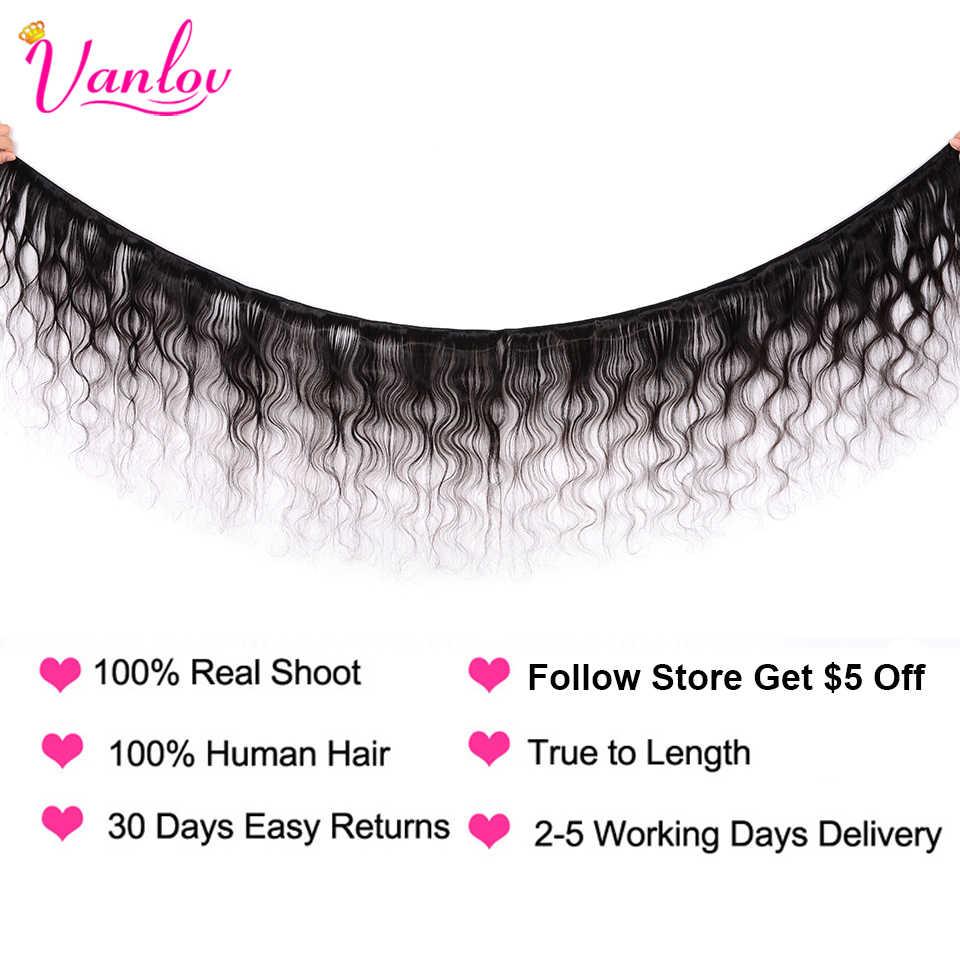Vanlov волосы, 4 цвета, бразильские волосы, волнистые пряди, человеческие волосы, объемные волнистые пряди, 1, 3, 4 пряди, Remy, волнистые, с застежкой на шнурке, 4X4