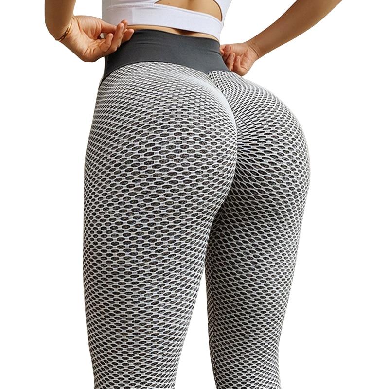 CHRLEISURE Grid Tights Yoga Pants Women Seamless High Waist Leggings Breathable Gym Fitness Push Up Clothing