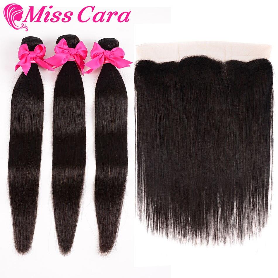H38cd7dfb402443a8ad40f93eb2f3a789U Peruvian Straight Hair Bundles With Frontal Miss Cara 100% Remy Human Hair 3/4 Bundles With Closure 13*4 Frontal With Bundles