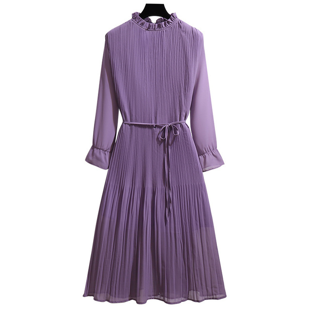 Women's Clothing 2021 Spring Autumn Fat Mm Fashionable Stylish Slim Pleated Chiffon Sexy Maxi Summer Party Long Dress Vintage 4
