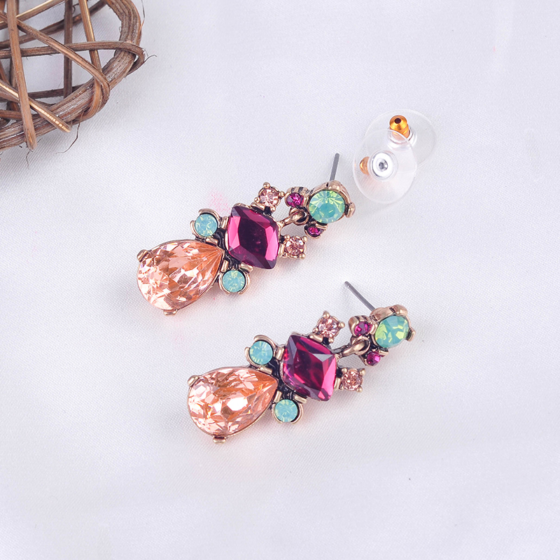 Rainbow Color Drop Earrings Collection Antique Gold Color Crystal Resin Pendants Earrings For Women Fashion Jewelry Wholesale