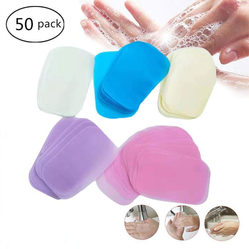 50/100 Pcs/Box Travel Washing Hand Bath Soap Paper Scented Slice Sheets Foaming Soap Case Paper Disposable Mini Soap