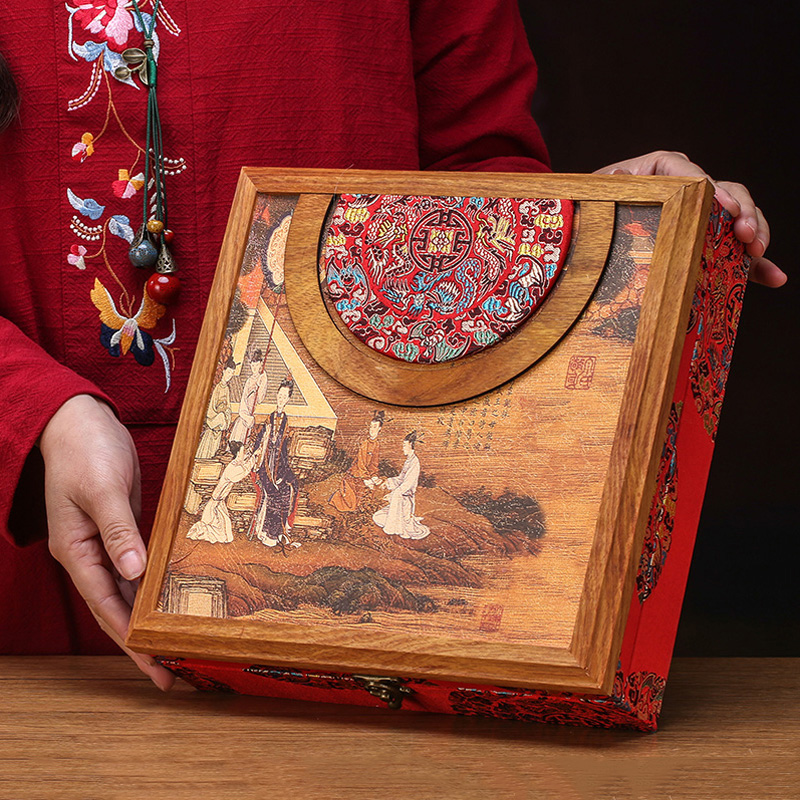 Vintage Tea Box Wooden Pu'er Storage Boxes 357g Tea Caddy China Kung Fu Tea Set Teaware Accessories Gift Seal Box Decoration