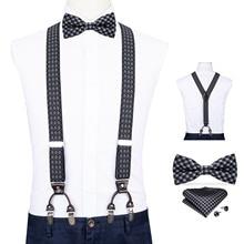 Men Navy Plaid Elastic Suspender Genuine Leather 6 Clips Brace Male Vintage Wedding Butterfly Bow Tie Hanky Cufflink Set DiBanGu