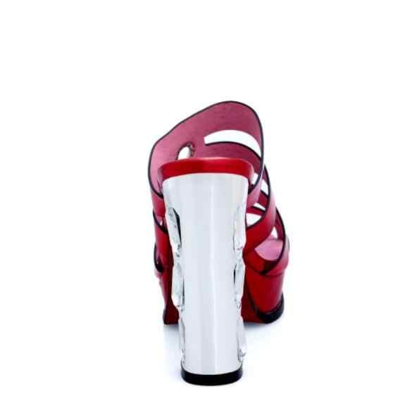 2019 Fatti A Mano di Spessore Con Anello In Metallo di Colore Solido Scarpe Da Donna Di Cristallo Sandali Tacco Tacco Alto Slip-On Tre Stile di Estate delle signore