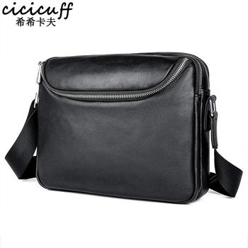 """2020 New Genuine Leather Men's Messenger Bags Casual Shoulder Bags for 7.9"""" Ipad Mini High Quality Leather Male Crossbody Bag"""