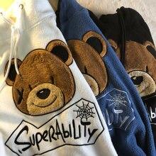 Veludo grosso de lã hoodie feminino outono inverno quente moletom bordado urso casaco vintage solto oversized hoodies adolescentes meninas